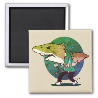 great white shark man walking funny cartoon magnet