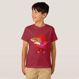 great white shark man walking funny cartoon T-Shirt