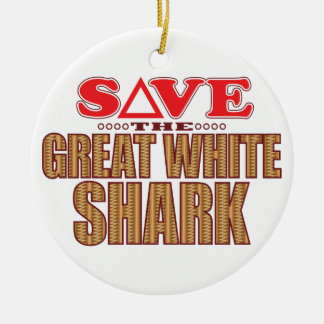 Great White Shark Save Ceramic Ornament