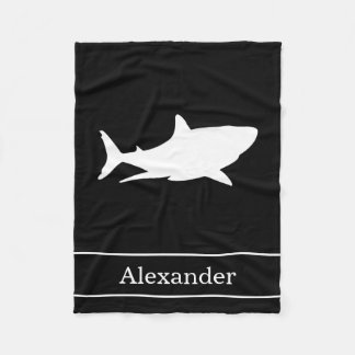 Great White Shark Silhouette with Name on Black Fleece Blanket