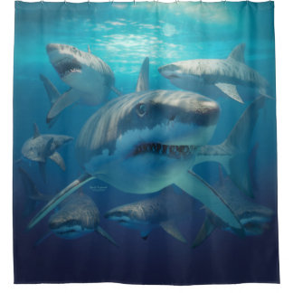 Great White Sharks Shower Curtain