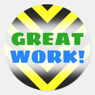 """GREAT WORK!""; Black & Yellow Chevron-Like Pattern Classic Round Sticker"