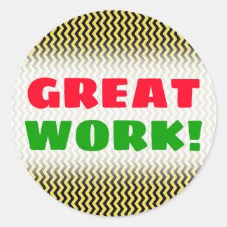 """GREAT WORK!"" + Yellow & Black Wavy Line Pattern Classic Round Sticker"