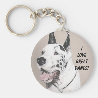 GreatDaneED, I LOVE GREAT DANES! Key Ring