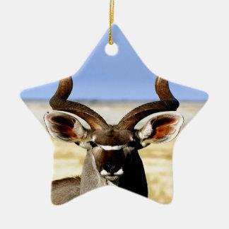 Greater Kudu bull  waiting for love Ceramic Ornament