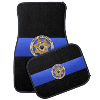 Greater Love Badge Thin Blue Line Car Mat