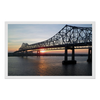 Greater New Orleans Bridge at Sunset Poster