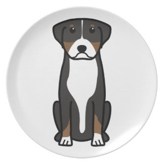 Greater Swiss Mountain Dog Cartoon Party Plates
