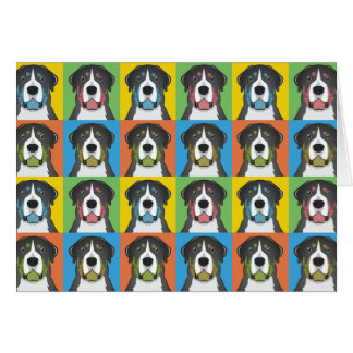 Greater Swiss Mountain Dog Dog Cartoon Pop-Art Card