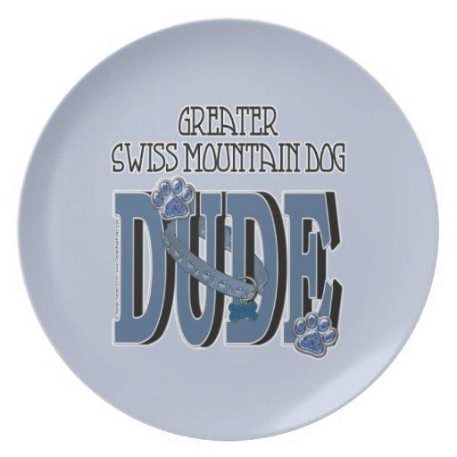 Greater Swiss Mountain Dog DUDE Dinner Plate