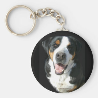 Greater Swiss Mountain Dog: Happy Key Ring