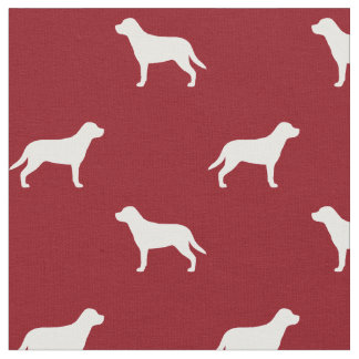 Greater Swiss Mountain Dog Silhouettes Pattern Red Fabric