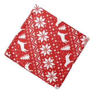 Greater Swiss Mountain Dogs Christmas Pattern Red Bandana