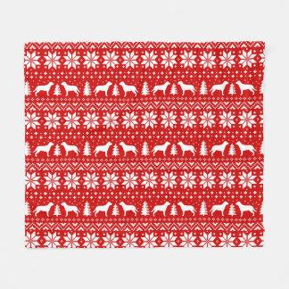 Greater Swiss Mountain Dogs Christmas Pattern Red Fleece Blanket