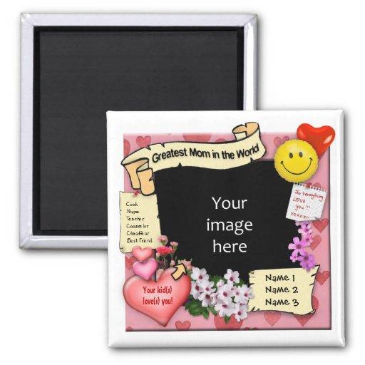 Greatest Mom Photo-Frame Fridge Magnets