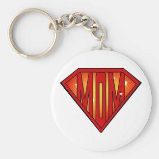 Greatest Super Mom Keychain Basic Round Button Keychain