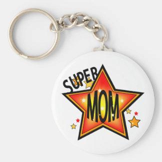 Greatest Super Star Mom Keychain Basic Round Button Keychain