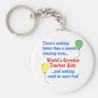 Greatest Teacher Aide Basic Round Button Key Ring