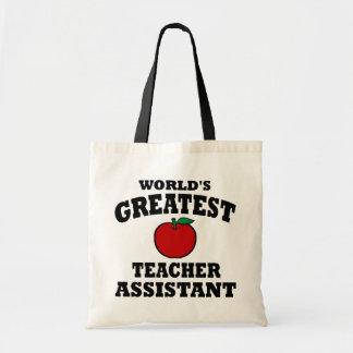 Greatest Teacher Assistant Canvas Bags