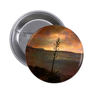 greatly changed beach rusty pinback button