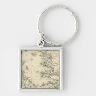 Grecian Archipelago, ancient Silver-Colored Square Key Ring