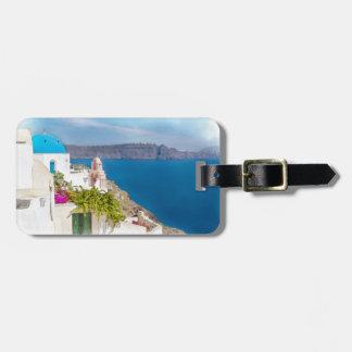 Grecian Paradise. Watercolor painting of Santorini Bag Tag