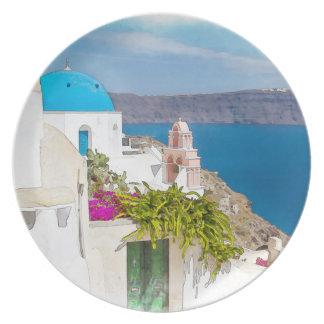 Grecian Paradise. Watercolor painting of Santorini Dinner Plates
