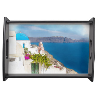 Grecian Paradise. Watercolor painting of Santorini Serving Tray