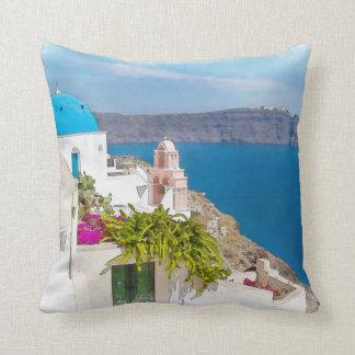 Grecian Paradise. Watercolor painting of Santorini Throw Pillow