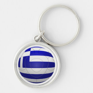 Greece - ΕΛΛΑΔΟΣ Football Silver-Colored Round Key Ring