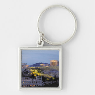 Greece - Acropolis, Parthenon Silver-Colored Square Key Ring