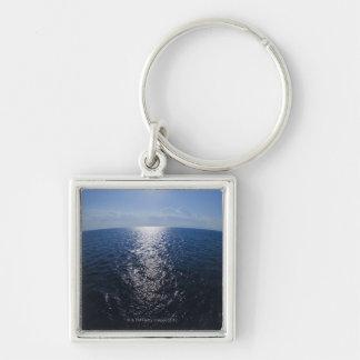 Greece, Aegean Sea horizon Silver-Colored Square Key Ring