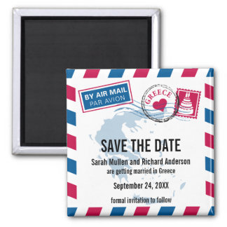 Greece Air Mail Wedding Save the Date Square Magnet