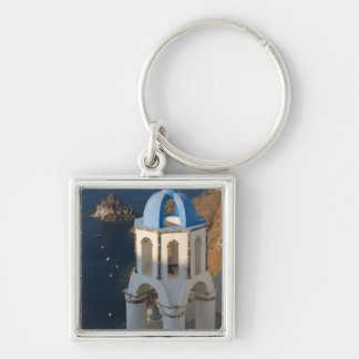 Greece and Greek Island of Santorini town of Oia 2 Silver-Colored Square Key Ring