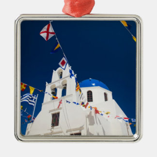 Greece and Greek Island of Santorini town of Oia 4 Silver-Colored Square Decoration