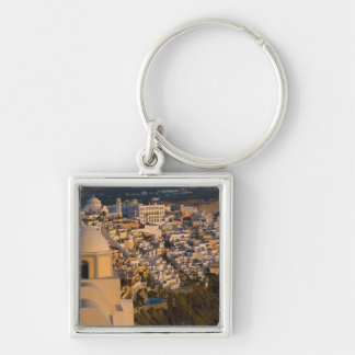 Greece and Greek Island of Santorini town of Silver-Colored Square Key Ring