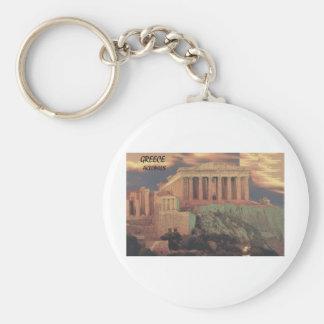 Greece Athens Parthenon Clouds (St.K) Basic Round Button Key Ring