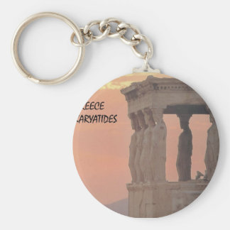 Greece Athens Parthenon-Karyatides (St.K) Basic Round Button Key Ring