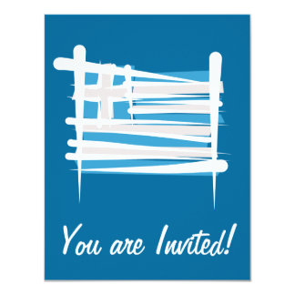 Greece Brush Flag 11 Cm X 14 Cm Invitation Card