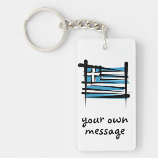 Greece Brush Flag Double-Sided Rectangular Acrylic Key Ring