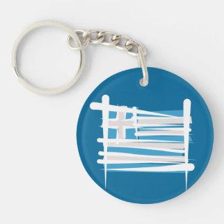 Greece Brush Flag Double-Sided Round Acrylic Key Ring