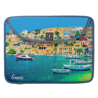 Greece building and boats at beach MacBook pro sleeves
