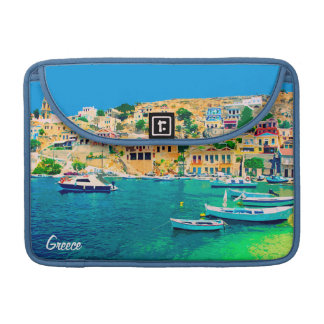 Greece building and boats at beach sleeve for MacBooks