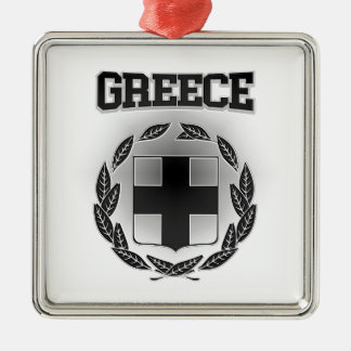 Greece Coat of Arms Silver-Colored Square Decoration