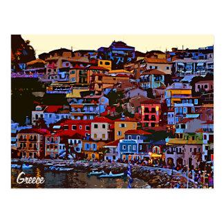 Greece colorful building beach postcard