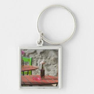 GREECE, CRETE, Hania Province, Hania: Colorful Silver-Colored Square Key Ring