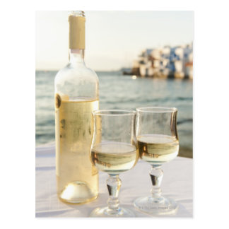 Greece, Cyclades Islands, Mykonos, Wine on table Postcard
