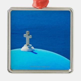 Greece, Cyclades Islands, Santorini, Oia, Church Silver-Colored Square Decoration