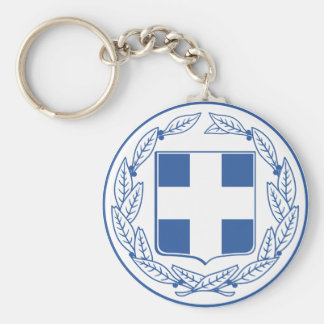 greece emblem basic round button key ring