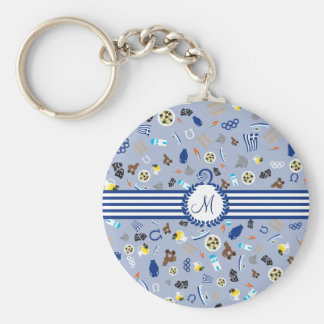 Greece: famous items of the country basic round button key ring